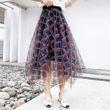 цена на Asymmetrical Tulle Skirt Women Midi Mesh Pleated Skirts Fashion Geometric Print Classic Plaid Cropped 2020 Summer Irregular Hem