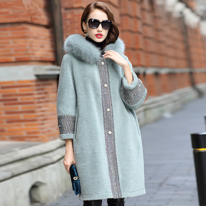 Real Fur Coat Winter Jacket Women Fox Fur Collar Sheep Shearling Fur Wool Coats Suede Lining Korean Jacket HQ18-LJX18187C MY1935 image