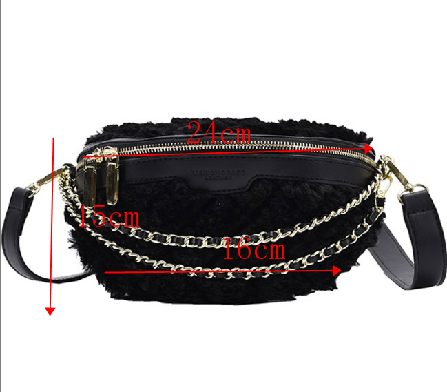 [BXX] Faux Fur Soft Crossbody Bags For Women 2020 New Winter Branded Chest Bag Lady Trending Chain Handbags and Purses HP385