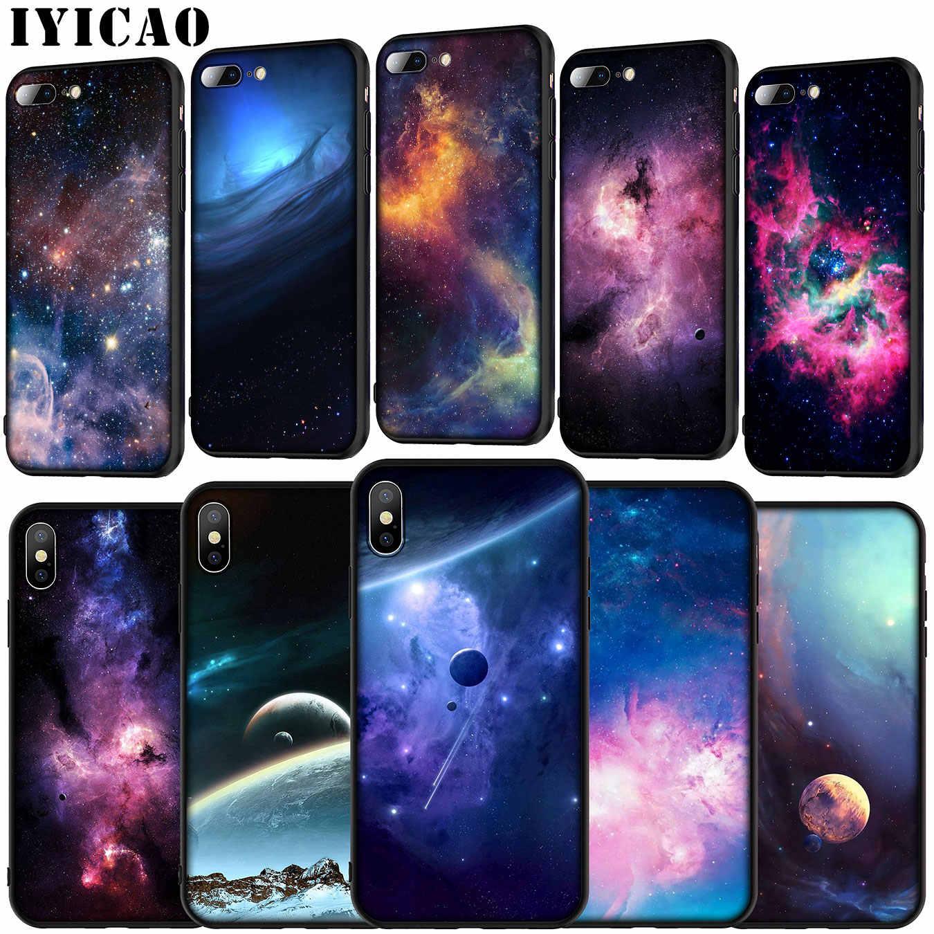 IYICAO الأرجواني الفضاء ستار لينة غطاء سيليكون حقيبة لهاتف أي فون 11 برو XR X XS ماكس 6 6S 7 8 زائد 5 5S SE الأسود TPU جراب هاتف