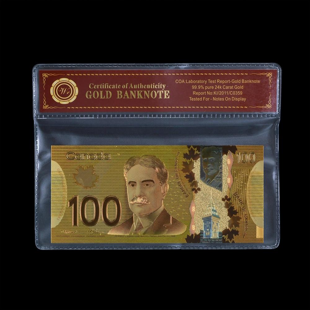 WR dinero falso 100 Dólar de Canadá billete de recuerdo dinero falso oro plateado Banco nota colección regalo para hombres