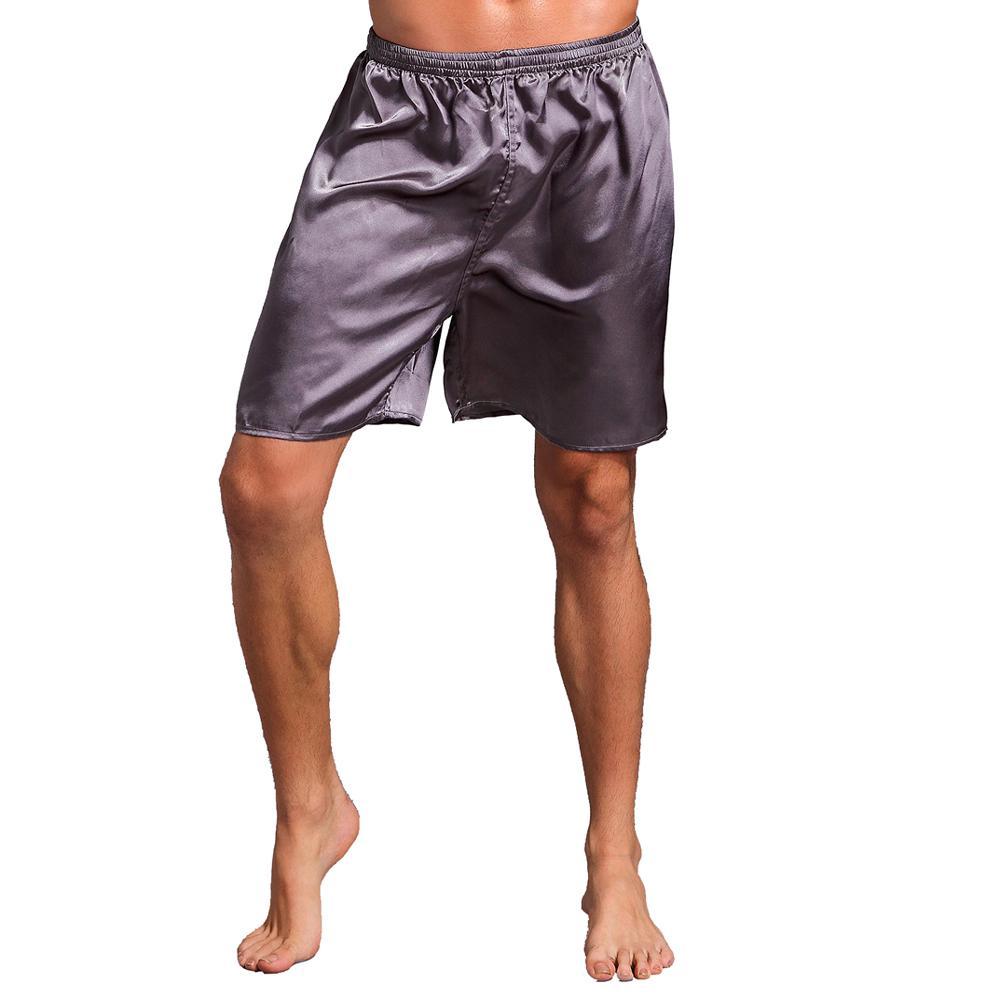 Большой размер 3XL халат для мужчин вышивка платье с драконами ночное белье мягкое атласное Lounge Ночная рубашка пижамы сексуальное свободное повседневное кимоно платье - Цвет: Gray Shorts