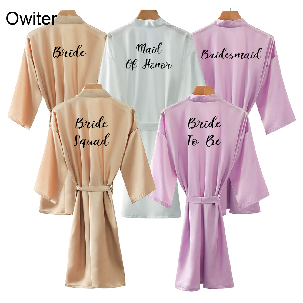 Owiter Silk Satin Bride Robe Bridesmaid Robes Wedding Sister Mother The Bride Robe Bathrobe Dressing Pajamas Women Rose Gold