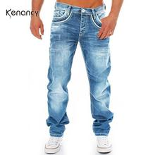 Hemiks Slim Fit Men's Motorcycle Jeans Pleated Casual Biker