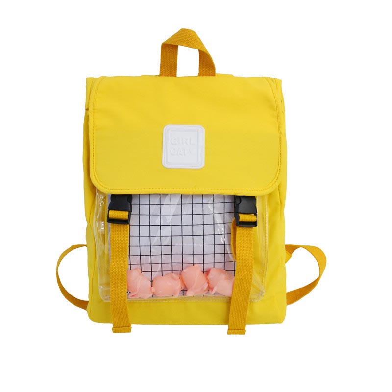 Casual Clear Waterproof Womens Backpack Harajuku Nylon Travel Backpack Cute Small Duck Student Schoolbags Girls Bookbags Daypack