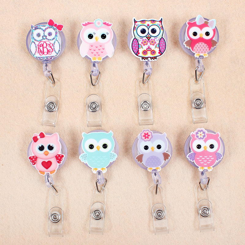 Creative 8 Style Cute Colour Owl Girls Retractable Plastic Badge Holder Reel Students Nurse Exhibition Enfermera Chest Name Card
