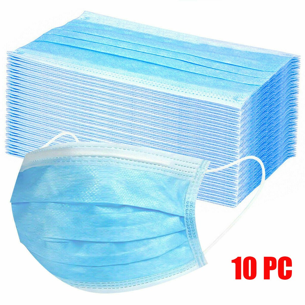 10Pcs Mouth Mask Disposable PM2.5 Mouth Face Masks Non-Woven Mask Anti-Dust Mask 3 Filter Activated Anti Pollution Maske Masker