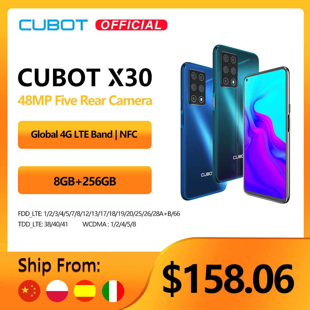 "Cubot X30 Cellphone Global Version 48MP Five Camera 32MP Selfie 8GB+256GB NFC 6.4"" Fullview Display Android 10 celular 4G LTE(China)"