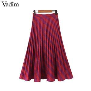 Image 2 - Vadim נשים אופנה פסים קפלים חצאית צד רוכסן Europen סגנון midi חצאית נקבה מקרית אמצע עגל חצאיות BA885