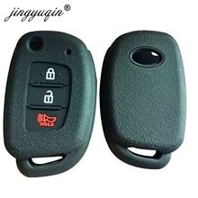 jingyuqin 50pcs Silicone Car Key Case For Hyundai HB20 Santa fe Elantra Tucson i40 i20 i10 iX35 iX45 Creta Remote Fob Cover 3BTN
