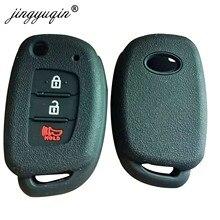 Jingyuqin 50 Uds funda de silicona para la llave del coche para Hyundai HB20 Santa fe Elantra Tucson i40 i20 i10 iX35 iX45 Creta cubierta de mando a distancia 3BTN