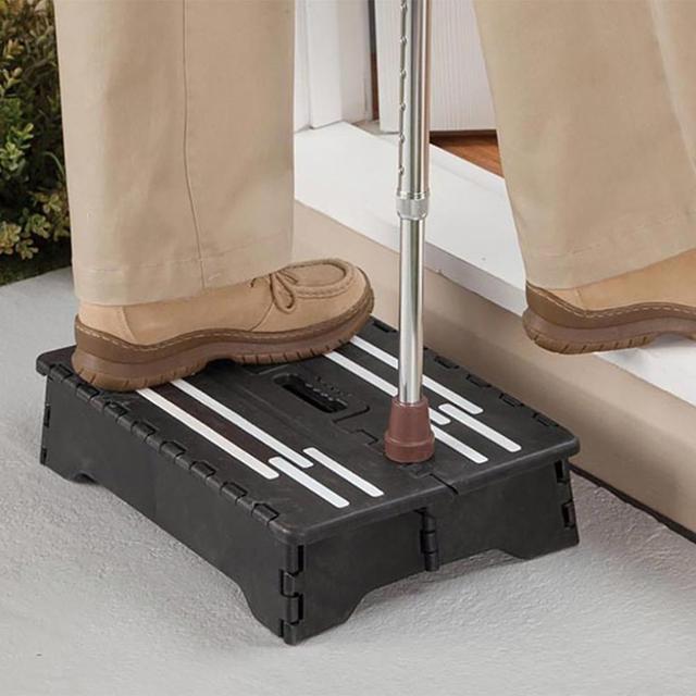 Portable Plastic Folding Step Stool Black Step Ladder Elderly Pregnant Kids for Kitchen Bathroom Toilet Caravan Travel Use 1