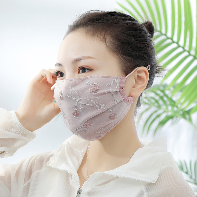 Women Lace Embroidery Floral Masks Sunscreen Imitation Silk Breathable Mouth Muffle Ladies Sweet Korean Mouth Masks Face Covers 1