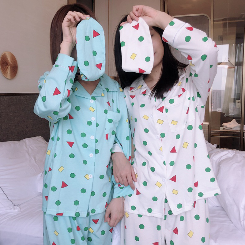 2019 Lingerie Pyjamas Women Autumn Spring Fashion Cotton Pajamas Set Korean Style Shin Chan Pijama Mujer Femme Sleepwear