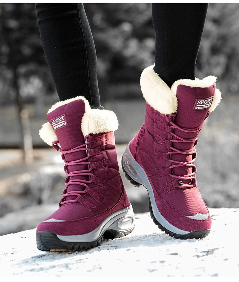 New Winter Women Boots High Quality Keep Warm Mid Calf Snow Boots Women Lace up Comfortable Ladies Boots Chaussures Femme|Mid-Calf Boots| - AliExpress