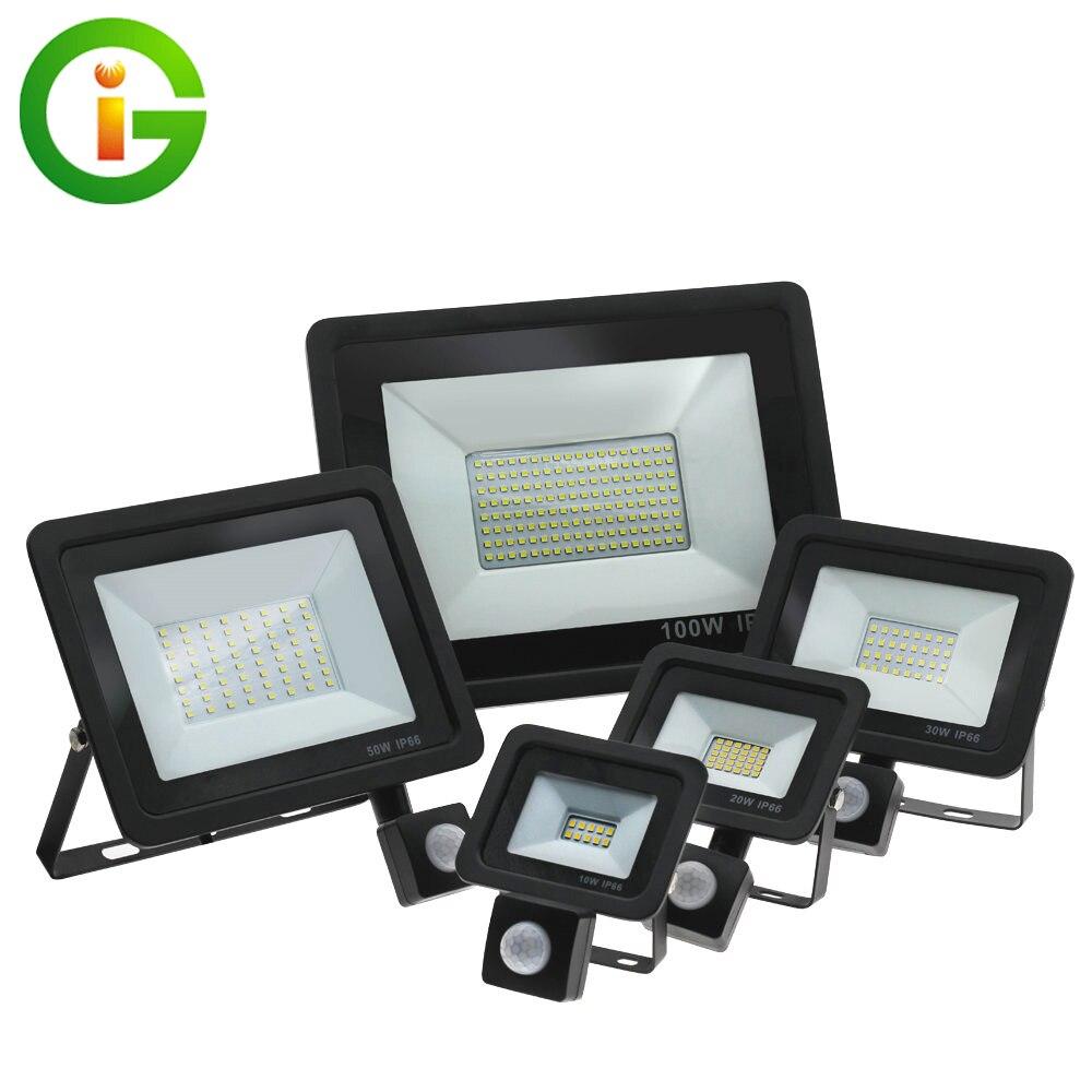 LED Street Light 220V With PIR Motion Sensor Waterproof Wall Lamps 10W 30W 50W 100W LED Floodlight For Home Garden Street