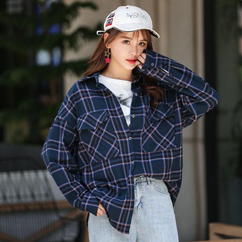 Women's Blouse [Cotton] Fashion Brand Korean Retro Women's Casual Top Spring and Summer Tops Women Large Size Plaid Shirt Women