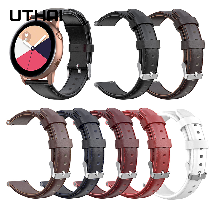 UTHAI P41 Watchbands 22mm Leather Strap Suitable For Galaxy Watch Active2 / Active (40MM) R500 Oil Wax Skin