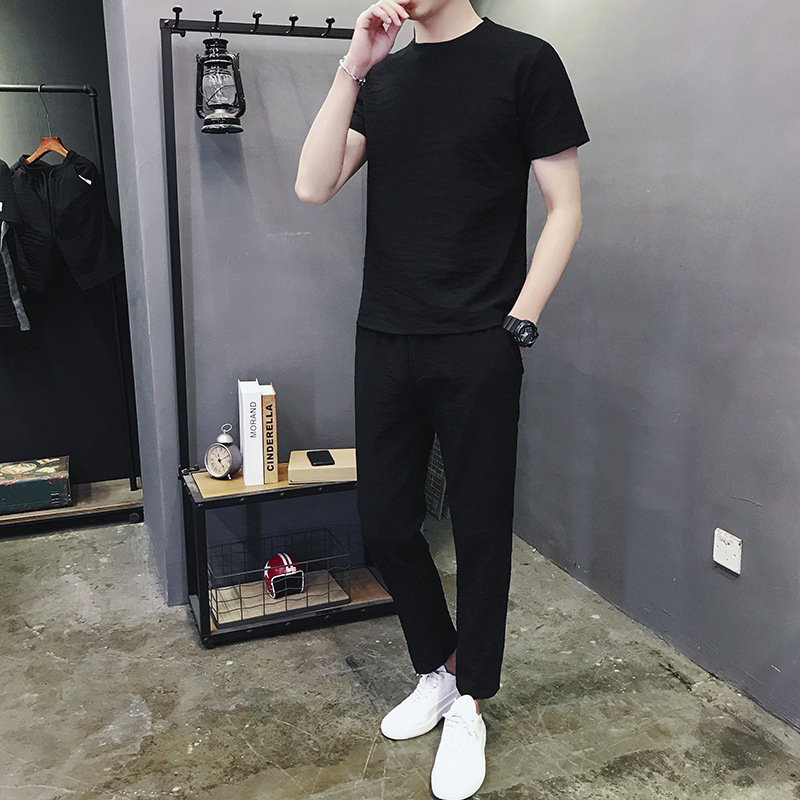 Moyi Casual 2019 Sports Set Korean-style Trend Lively Fella Trousers Short Sleeve Sports Set Men's Ds925
