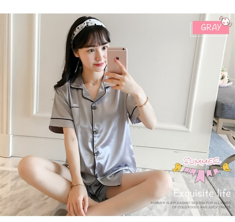 H8de140a2c7184a5483ffd1a20f637bf8e - JULY'S SONG New Spring Summer Women Faux Silk Pajamas Set Simple Pure Color Leisure Nightwear Short Sleeves Sleepwear