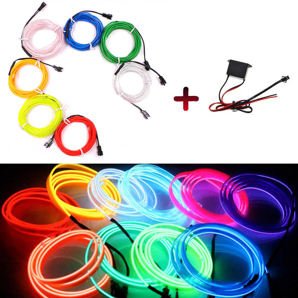 1m 3m 5m DC12V LED Neon Light Dance Party Decor Light Flexible Sewing Edge EL Wire Waterproof LED Strip With 2PIN Line Driver