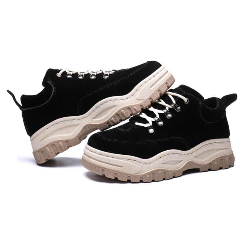 2019 yeni sonbahar kış çizmeler Retro Trend platformu erkekler çizmeler öğrencileri rahat kadın yarım çizmeler aşınma kaymaz erkek ayakkabıları