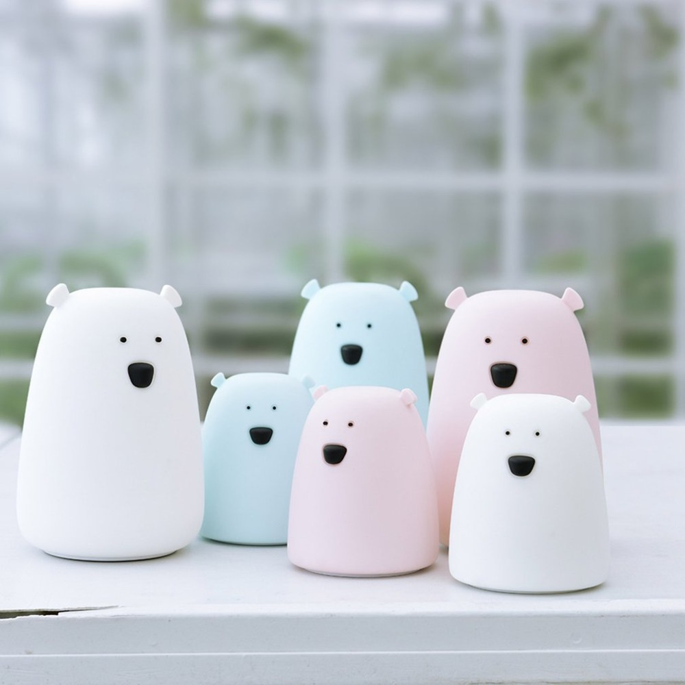 Silicone Night Bedside Light Bear USB Charging /battery Powered Touching  Lamp Bedroom Kid Light Gift Pressure Reducing Toy