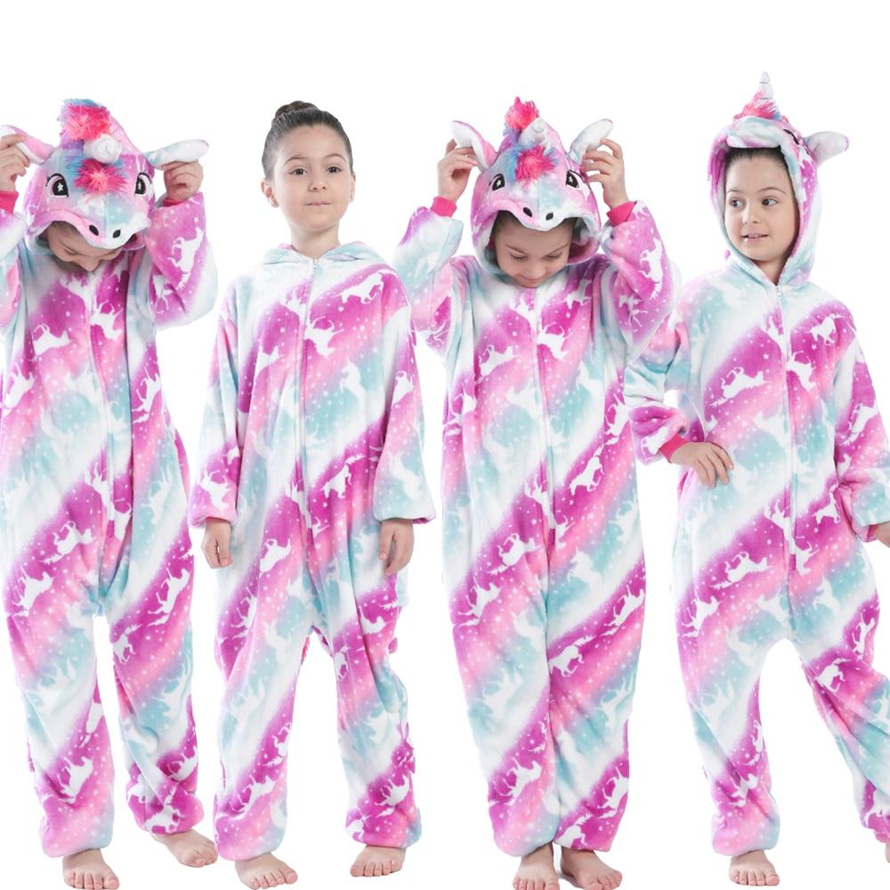 Children Kigurumi Unicorn Pajamas Kids Baby Animal Overalls Jumpsuit Onesie Panda Pajama Sleepwear Girls Cosplay Pyjama Pijamas 3