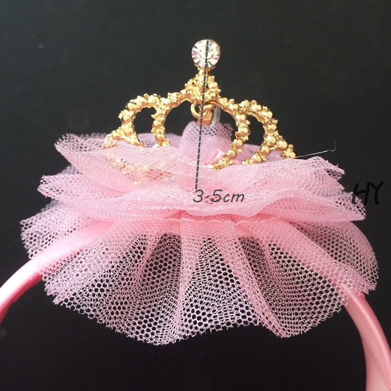 1 Pcs lot Princess Crown Lace Chiffon Flower Headband Gold Silver Tiara Hairbands Birthday Gift Head Accessory Head Wear in Hair Accessories from Mother Kids