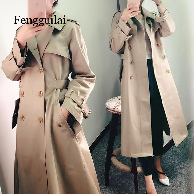2019 New Fashion Spring Autumn Korean OL Double-breasted Khaki thin slim Waist Dress Long   Trench   Coat Women Overcoat