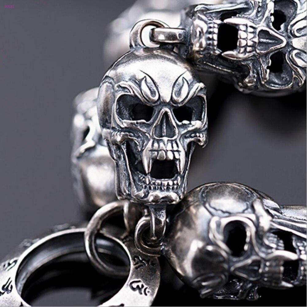 S925 pulsera de plata calavera y plata Retro Rock hip hop pulsera de plata punk joyería de plata de ley 2019 nuevo estilo - 6