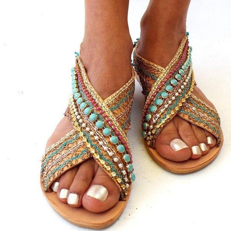 Summer Women Sandals Open Toe Beading Flat Sandals Female Sandalias Shoes Foreign Ethnic Style Bohemian Beach Shoes Plus Size