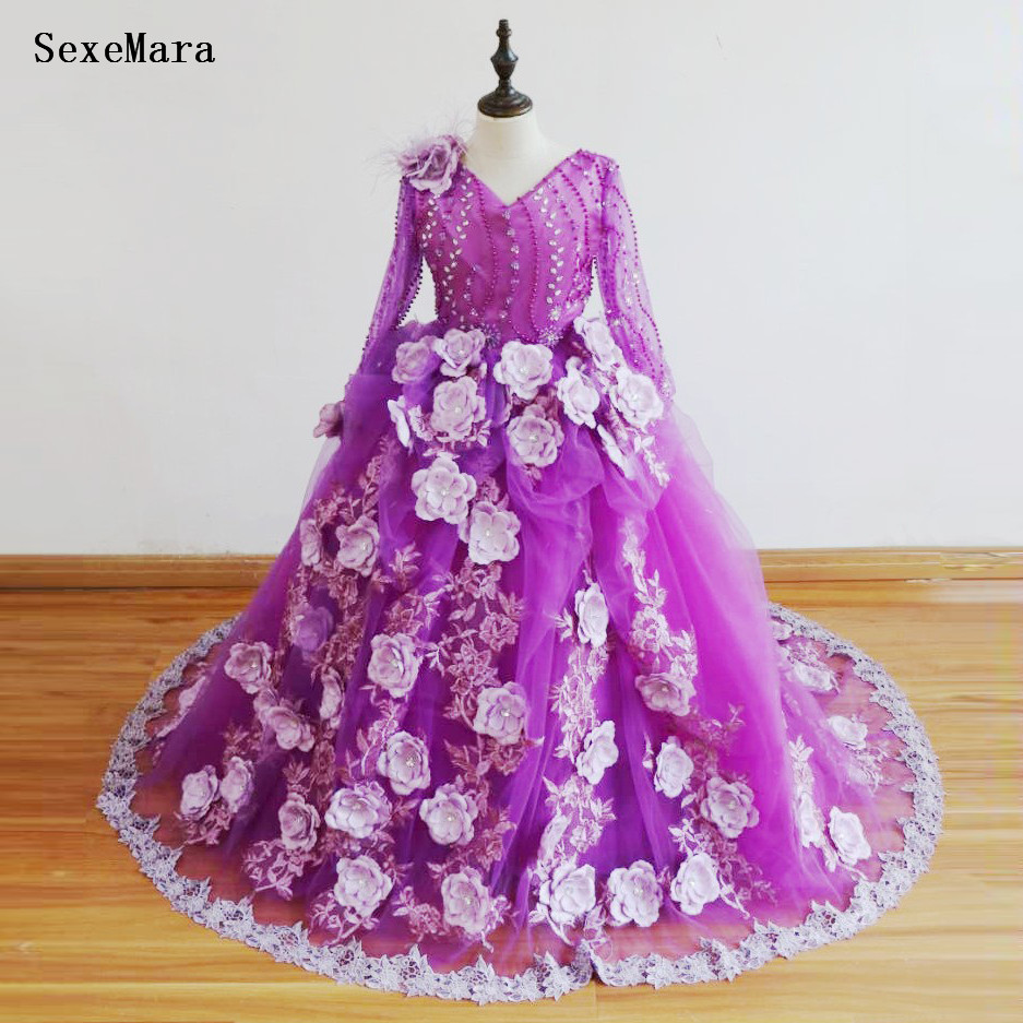 Kids Pageant Evening Gowns Applique Lace Puffy Gown   Flower     Girl     Dresses   For Weddings Communion   Dresses   Birthday Gown For   Girls