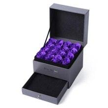 Купить с кэшбэком Exquisite Purple Eternal Rose Jewelry Box Jewelry Display Earrings Necklace Pendant Storage Box Jewelry Gift Must Match