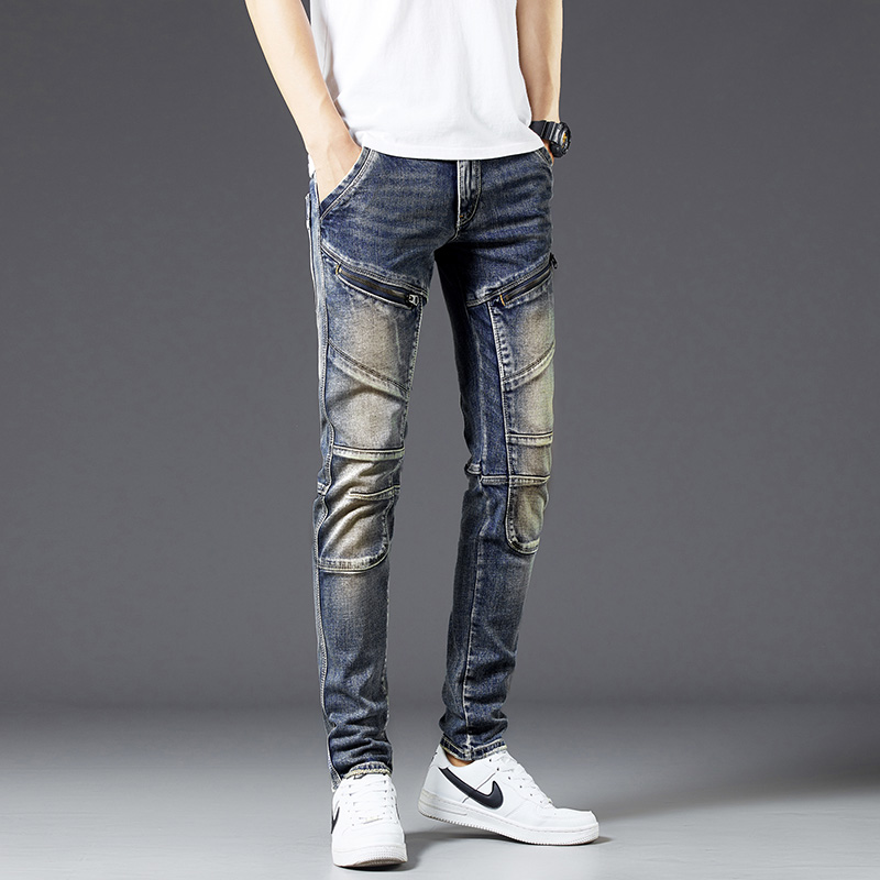 Biker Jeans Men Skinny Fit Fashion Zipper Pockets High Street Motorcycle Jeans Vintage Denim Pants