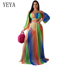 YEYA Autumn Gradient Print Two Piece Matching Sets Women Clothes Slash Neck Long Sleeve Crop Top +Side High Split Maxi Skirt cute high neck cartoon owl print crop top skirt briefs women s three piece swimsuit