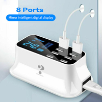 Multi Function 8 Ports USB Charger Adapter Desktop Wall Fast Charger Smart LED Display Charging Station for iPhone Samsung