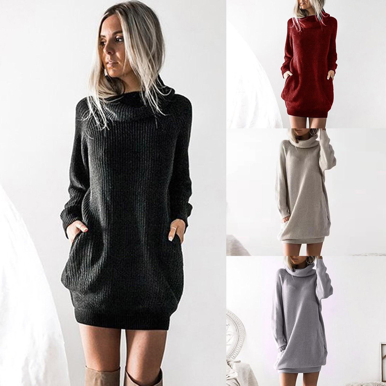 Autumn Winter Sweater Dress Solid Casual Dresses Womens Long Sleeve Turtleneck Knitted Dress Roll Neck Jumper Dress Ladies Mini
