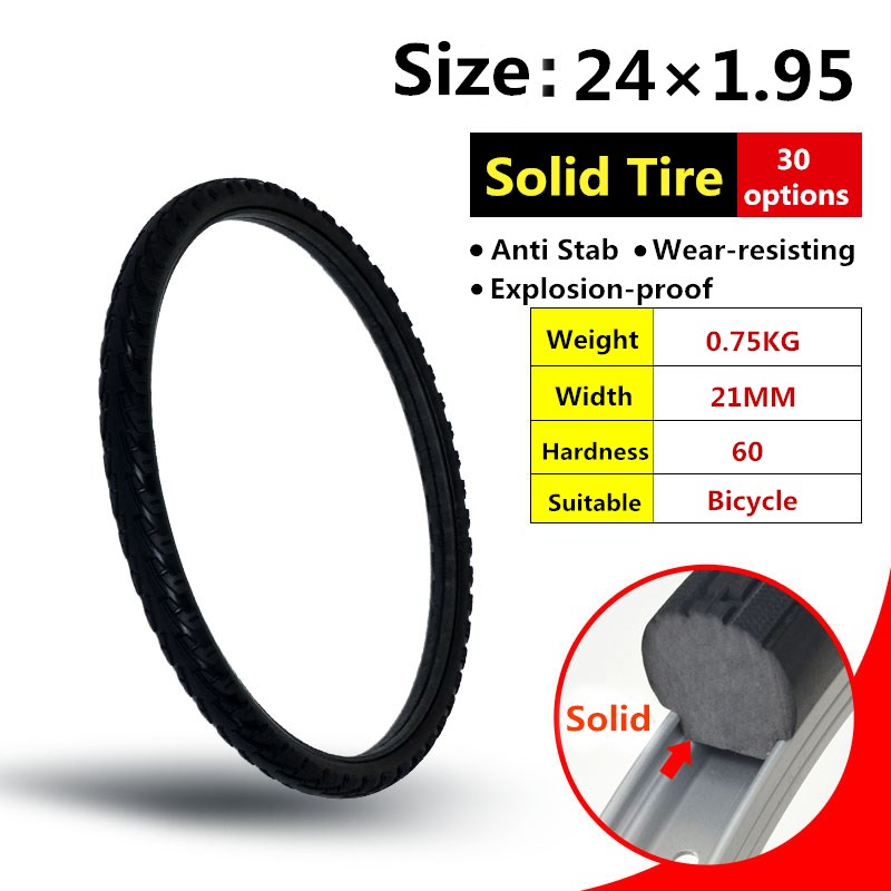 24*1.95 Solid Bicycle Tire Riding MTB Bike TireBike Tire Bicycle Cycling Tubeless Tyre