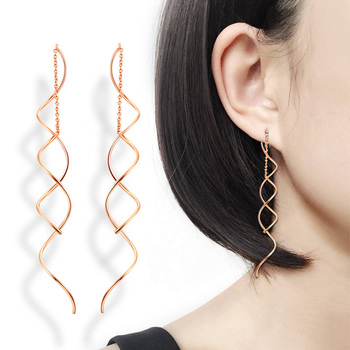 Unique Twisted Bar Long Line Chain Earrings Silver Rose Gold Color Fashion Drop Dangle Earring Jewelry.jpg 350x350 - Unique Twisted Bar Long Line Chain Earrings Silver/Rose Gold Color Fashion Drop/Dangle Earring Jewelry Ear Cuff For Women DWE243