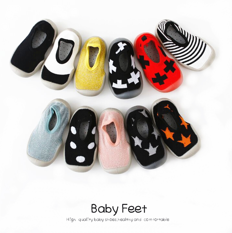 Fashion Baby Boys Shoes Soft Rubber Socks Shoes Toddler Baby Girl Slipper First Walker Anti-Slip Kids Outdoor Casual Shoes