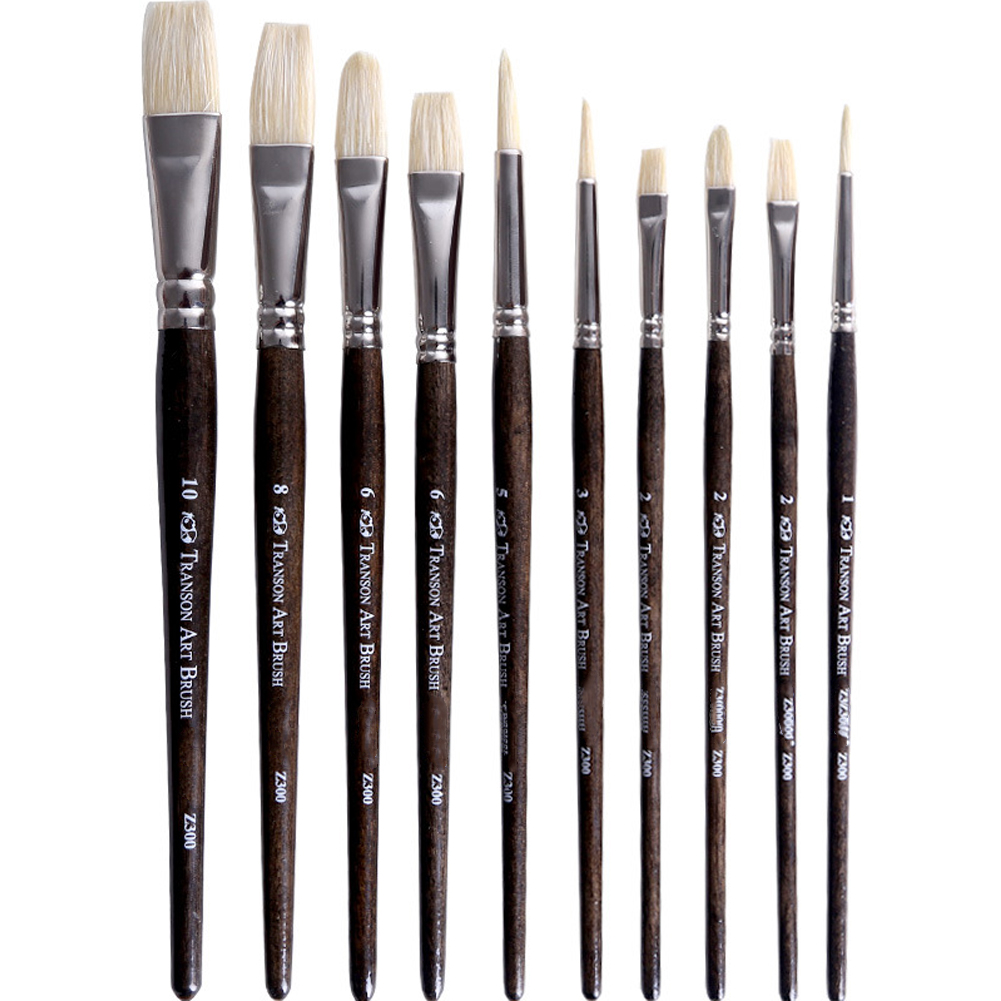 10pcs Gouache Paint Brush Set Sable Wooden Handle Mixed Drawing Supplies Artist Painting Painter Students For Canvas Acrylic Oil