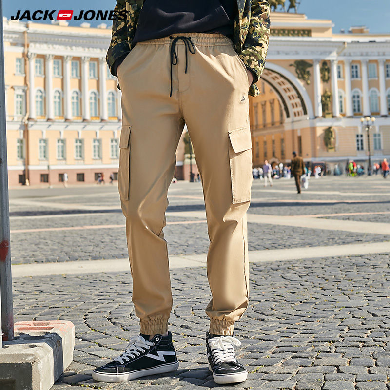 Jack Jones Streetwear Hiphop Men's 100% Cotton Loose Fit Ankle-tied Casual Pants| 219314539