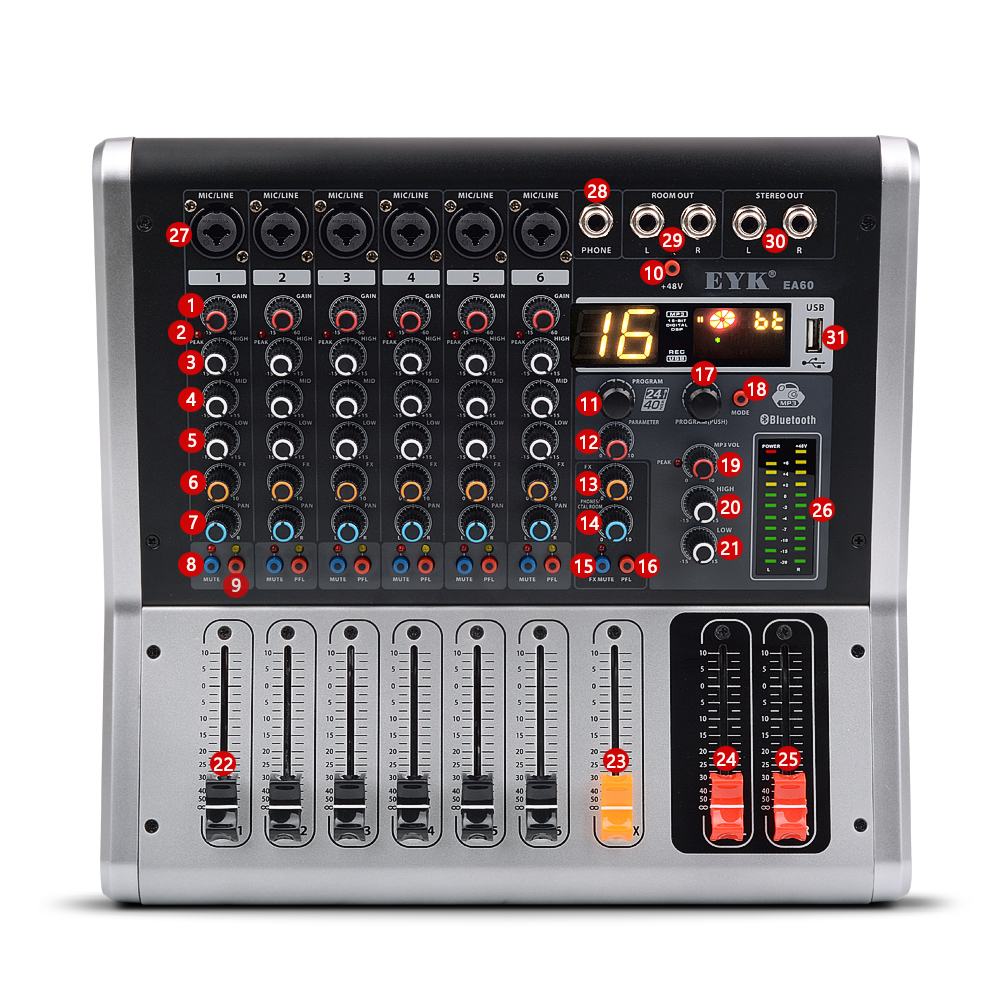 EYK EA60 6 Saluran Mencampurkan Konsol dengan Mute dan PFL Switch Bluetooth Record 3 BAND 16 DSP Effect Professional USB Audio Mixer