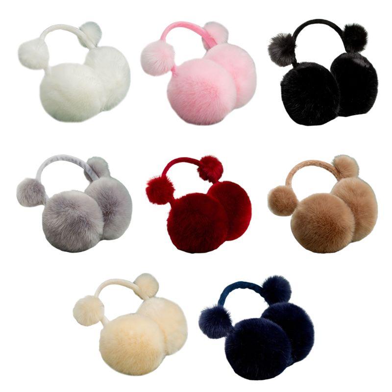 Kids Boys Girls Winter Cute Pompom Earmuffs Adjustable Foldable Solid Color Sweet Ear Cover Thermal Warmers Earflap Headband
