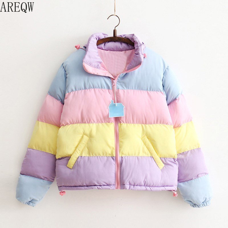 Women Coat Clothing Padded Parkas Short Warm-Jacket Oversize Rainbow-Stripe Fluffy Winter title=