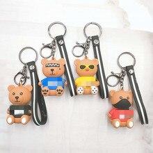 Cartoon masked Bear Key chain Cute glasses bear key Ring Gifts For Women Girls Bag Pendant Epoxy PVC Figure Charms Chains