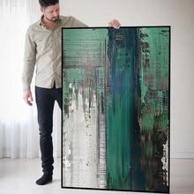 Abstracto moderno pintura a óleo da lona pintados à mão textura grossa acrílico restaurante sala de estar entrada verde escuro