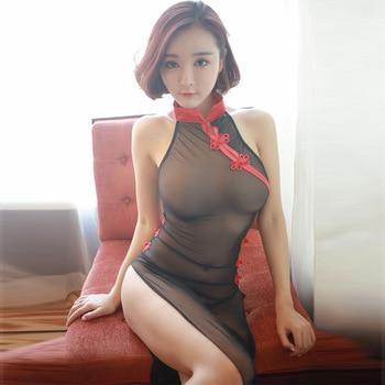 Cheongsam Sexy de estilo chino para dormitorio, disfraz de Cosplay Sexy, Sexy, erótico, transparente, Qipao, vestido transparente, juego de pareja sexual
