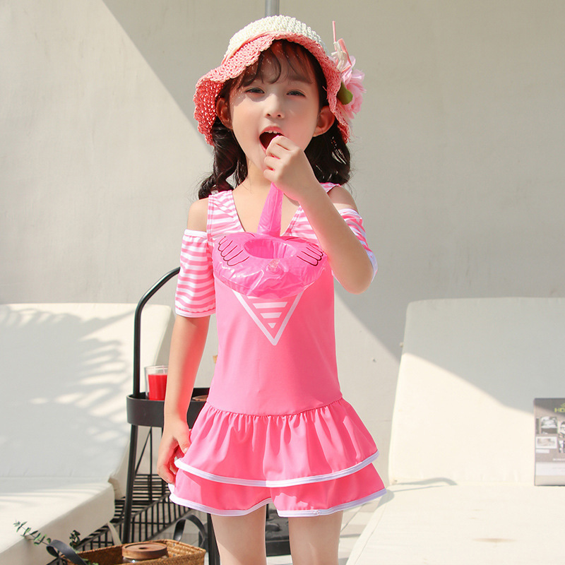 KID'S Swimwear GIRL'S GIRL'S Swimsuit Cute Large Children Korean-style Students Dress-Tour Bathing Suit